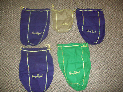 Crown Royal Bags Lot of 5 Various Colors 4 Larger Ones and 1 Smaller One