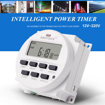 12V~220V Digital Intelligent Power Timer Programmable Relay Control Timer Switch