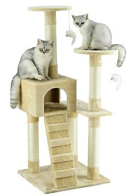 "52"" Cat Tree Scratcher Play House Condo Furniture Bed Post Pet House-Beige"