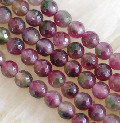 Natural 8mm Faceted Multicolor Tourmaline Round Gems Loose Beads 15'' ##HK2150