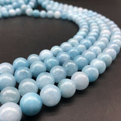 "6 8 10 12MM Genuine Natural Aquamarine Round Gemstone Loose Beads 15"" Strand AAA"