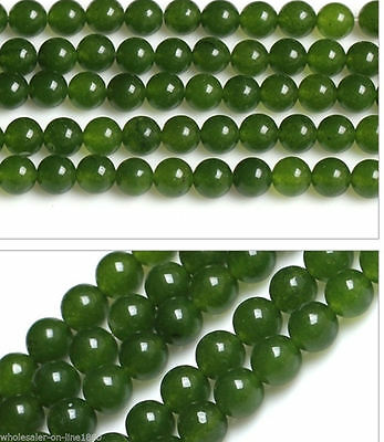"6/8/10/12/14mm Natural Green Jade Round Gemstone Loose Beads 15"" Strand AAA"