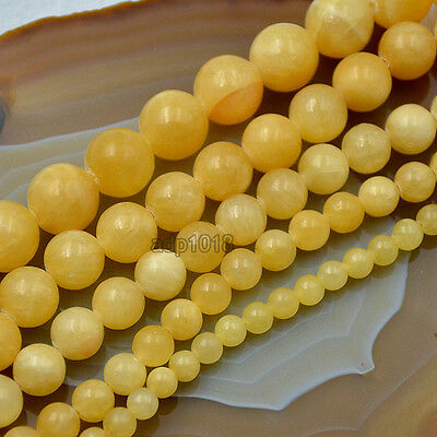 "Natural Yellow Jade Round Loose Beads 15.5"" 4mm 6mm 8mm 10mm 12mm 14mm"