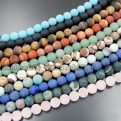 "Wholesale Natural Matte Gemstone Round Loose Beads 15"" 4mm 6mm 8mm 10mm"