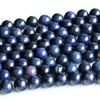 Wholesale Natural Genuine Dark Blue Stone Dumortierite Round Loose Beads 6-12mm