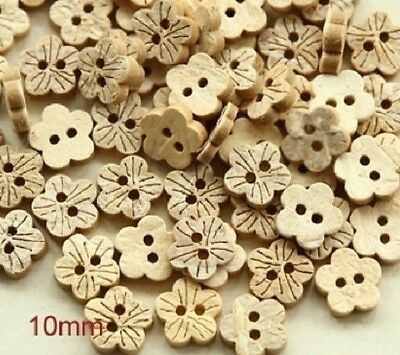 """20 Coconut Shell 2-hole FLOWER Buttons 3/8"""" (10mm) Craft (639)"""