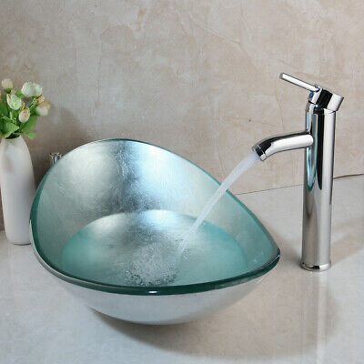 Modern Chrome Seashell Wave Tempered Glass Vessel Sink Waterfall