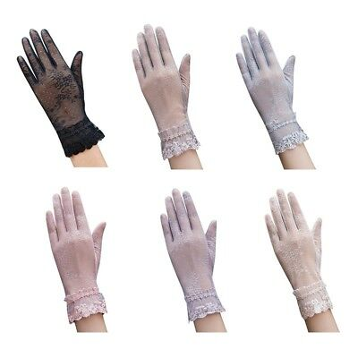 1Pair Women Lace Sunscreen Anti UV Gloves Cycling Driving Sun Protection Mittens