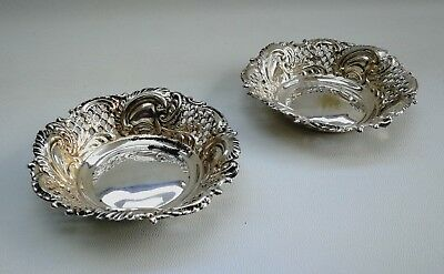 Vintage Pair of Victorian Pierced Silver Plate Bon-Bon Nuts Dishes Tray Bowls