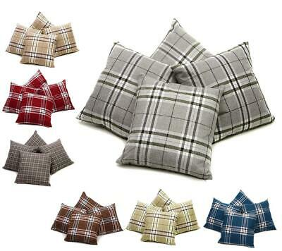 Set of 4 Tartan Check Cushion Covers 18 inch / 45 cm  or Large 22 inch / 55 cm