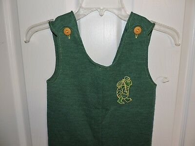 Children Vintage 60S Dutchmaid Size 5 Green Romper Embroidered Turtle NOS NWT