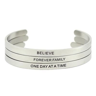 Men's Stainless Steel Jewellery Sand Surface Bar Engraved Positive Inspirational