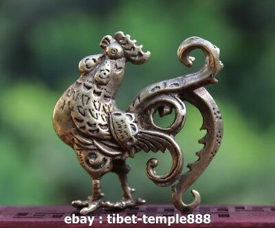 6 CM Chinese 100% Pure Bronze Zodiac Animal Amulet Rooster Chook Chick Statue