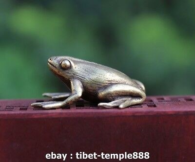 4.5 CM 100% Pure Bronze Copper China Fengshui Animal Common Pond Frog Statuette