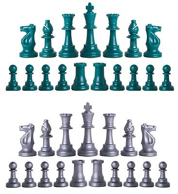 Staunton Triple Weighted Chess Pieces – Full Set 34 Aqua & Silver - 4 Queens