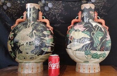"Antique Pair of Chinese Famille Noire  Moonflask Vases - HUGE 18 1/4"" & 13"""