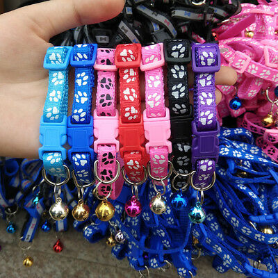 2X Adjustable Dog Collars Cute Pet Cat Puppy Buckle Collar with Bell Paw Printed