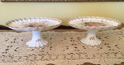 "Two (2) GviR Crown Staffordshire, ""England's Bouquet"" Bone China Footed Compote"