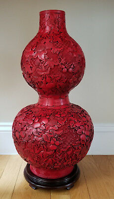 Qing Dynasty, An Exquisite Cinnabar Carved Lacquer Double Gourd Shape Vase 19.5""