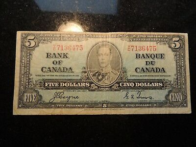 1937 BANK OF CANADA $ 5 FIVE DOLLARS COYNE TOWERS Y/C 7136475 BC-23c