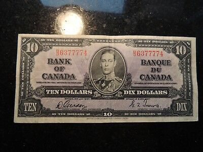 1937 BANK OF CANADA $ 10 TEN DOLLARS GORDON TOWERS B/D 6377774 BC-24b LUCKY 7
