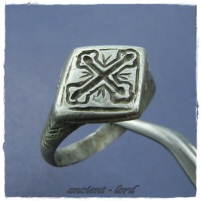 ** CROSS **  beautiful  ancient SILVER BYZANTINE ring !!!