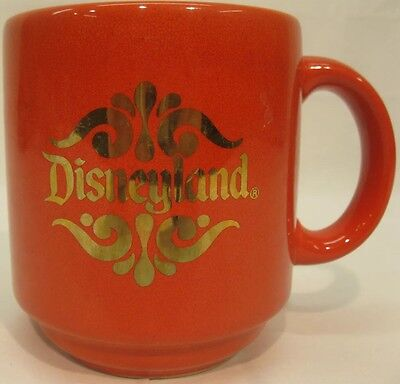 Disnelyand Orange Coffee Mug Gold Logo Vintage Disney