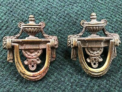 ANTIQUE METAL DRAWER PULL HANDLES Victorian Ornate Old Pair Marked 3246 & 3689