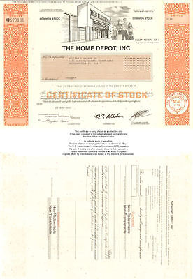 The Home Depot Collectible Stock Certificate Share 9999 Picclick
