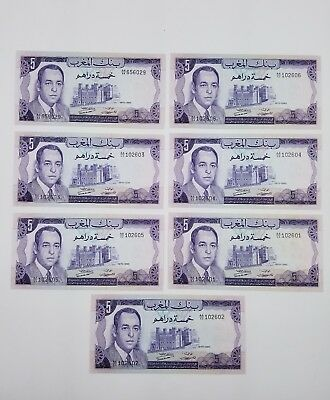 MOROCCO 5 Dirhams Banknote World Paper Money UNC Currency Note p56 Lot Of 7
