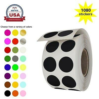 Colored Coding Round Dots Labels 0.50 Inch 13mm Circle Dot Stickers 1080 Pack