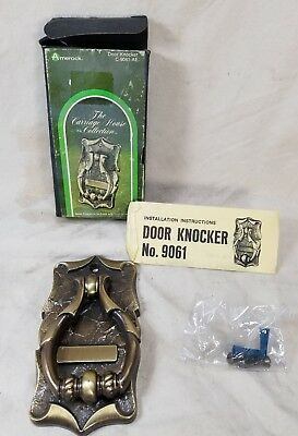 NOS New Vintage Amerock Brass Carriage House Door Knocker Name Plate Mid Century