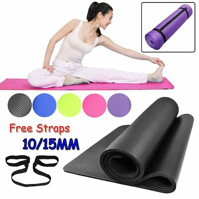 Pro Sports Exercise Fitness Gym Yoga Mat Physio Pilates Foam 10/15mm Non Slip