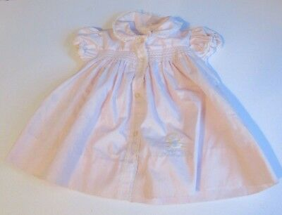 Vtg Baby Girl Pink Smocked Dress with Embroidered Duck