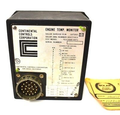 CONTINENTAL CONTROLS TC1-1500-30T1 28 VDC ENGINE TEMPERATURE MONITOR USA Made!