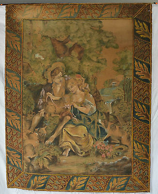 Antique Tapestry Hand Painted French Wall hanging c mid-1800's Chateau textile