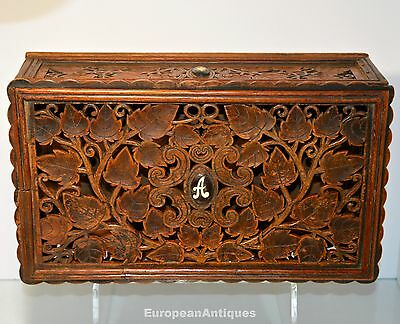 Teak Box Hand Crafted Elaborate Filigree Carved w Rosewood Inlay