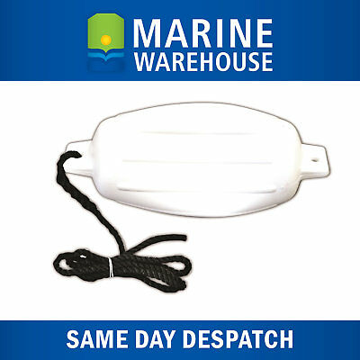 Inflatable Boat Fender White PVC 140mm X 500mm W/ 2M of 8mm Nylon Rope 107613