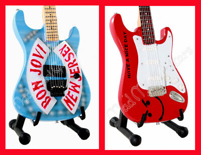 Miniature Guitars BON JOVI with stand. New Jersey + Have a Nice Day