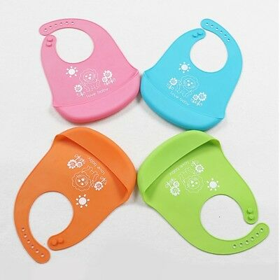 US Baby Kids Silicone Soft Bib Waterproof Saliva Dripping  Lunch Bibs 4 Colors