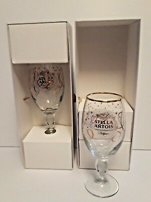 Stella Artois 33 CL Gift Boxed Holiday Design Beer Glasses..Set of Two.......NIB