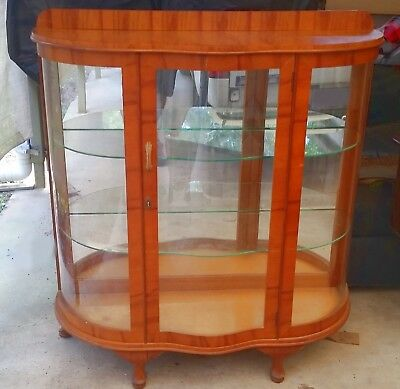 Art Deco Curved Glass Door Display Cabinet