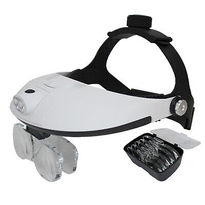 2 LED HEADBAND MAGNIFIER MAGNIFYING GLASS 2 WAY REGULATION ADJUST 5 LENS 1x - 6x