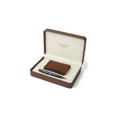 Men's Gift Set With Brown Leather Business Card Holder & Black Ball Point Pen