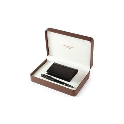 Men's Gift Set With Black Leather Business Card Holder & Ball Point Pen