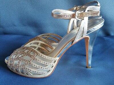 f821a2dab59f0 ANTONIO MELANI 9.5 M Silver Bling Platform Ankle strap. New without box