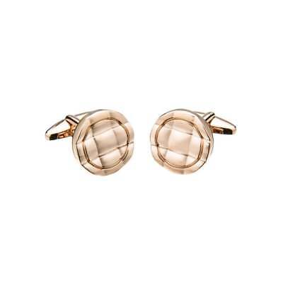 Brass Rose Gold Plated Round Cufflinks With Square Pattern