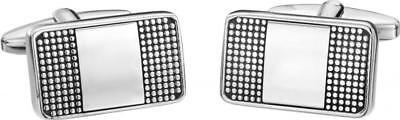 Rectangular Cufflink In Silver With Fine Dotted Detailed Pattern