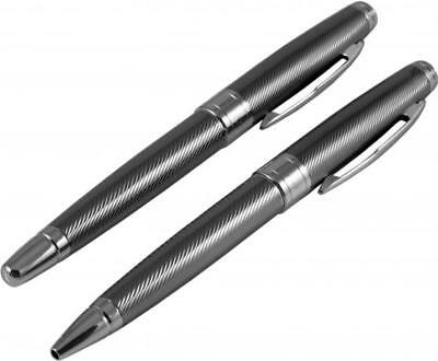 Silver & Grey  Ball Point & Roller Ball Pen Set With Diagonal Line Details