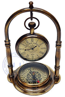 Brass Nautical Victoria London Maritime Antique Desk Clock With Compass Gifted